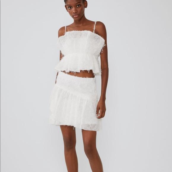 Zara Tops - Zara crop top white textured fringe sleeveless NEW